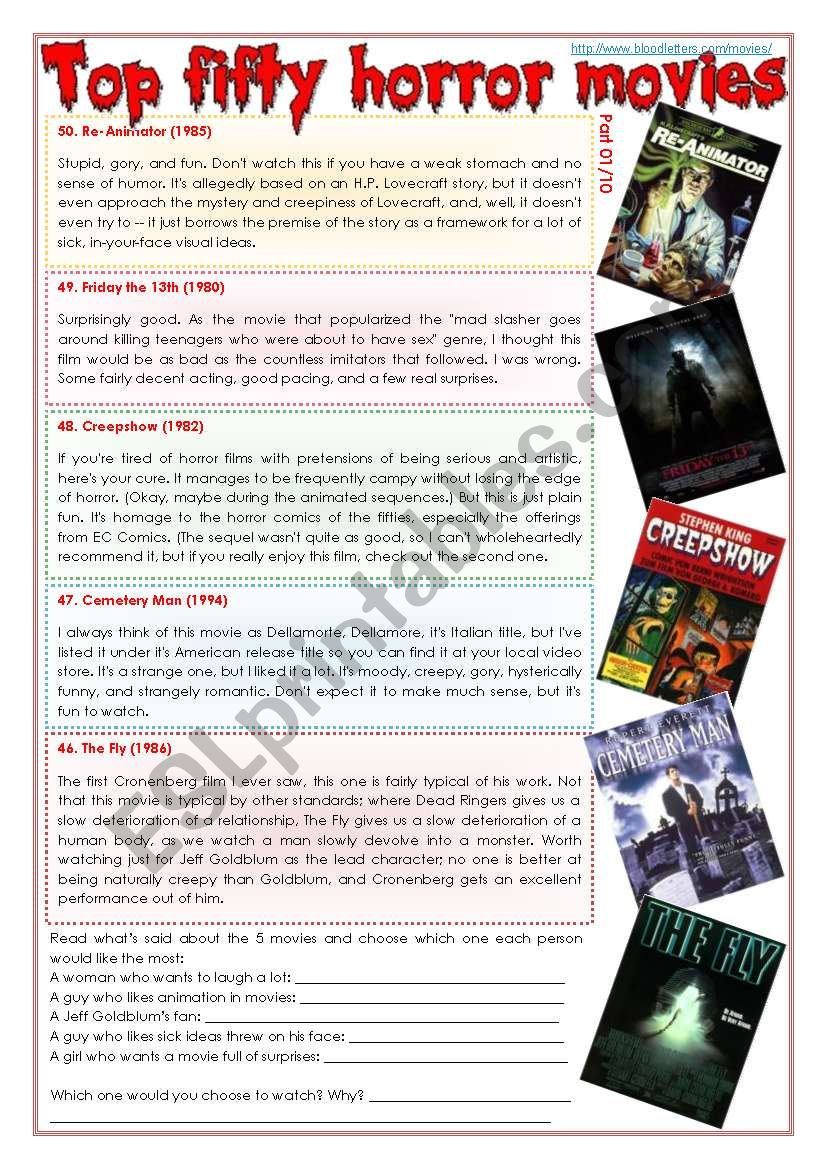 Top fifty horror movies [part 01/10] (comprehension, writing, pair work + superlatives) [3 pages] ***fully editable